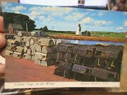 Old Postcard Edward Island Canada Victoria Harbour Lobster Traps On Dock