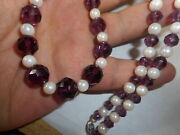 14k White Gold Cultured Salt Water Aa Pearl And Purple Crystal Choker Necklace