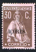 Azores Scott 167 Portugal Chalky Paper 30c Ceres Overprinted Acores.