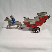 Early American Painted Tin Toy Circus Wagon Horse And Rider Fallows 6.25 Inches