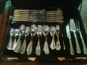 112 Pieces Stainless Steel Gold Plated Cutlery Set Dinner Spoons Forks Knives