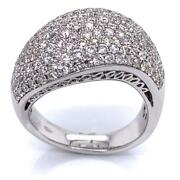 2.04 Tcw Round Diamonds Cocktail Dome Ring In Solid 18k White Gold Size 6.75