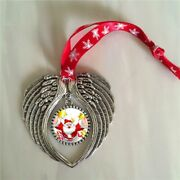 Christmas Ornament Charm Angel Wings Shape Blank Heart Printing 15pieces/lot