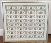 Silver Framed 2001 Series Uncut 1 One Dollar Bill Us Currency Sheet Of 32 Mint