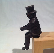 Original 1880and039s-1900 Seated Man W/ Top Hat Figure 4 Long For Iron Toy Carriage