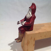Original 1906-1920and039s Santa Iron Figure For Hubley Iron Toy Sleigh Superb