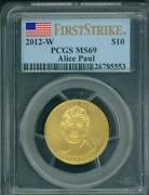 2012-w 10 Gold Spouse Alice Paul And Suffrage Pcgs Ms69 Ms-69 First Strike Fs