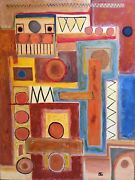 Large Listed Artist Painting Abstract Modernist Dr. Benjamin Gross 1990and039s Colors