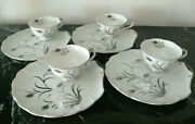 Lefton China Hand Painted Shell Shaped Sandwich Plate And Tea Cup Sets 4 224