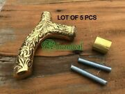 Lot Of 5 Pecs Brass Designer Derby Head Handle For Walking Cane Only Handles