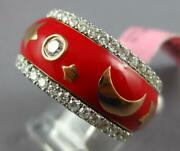 Wide 1.38ct Diamond And Red Enamel 18k White Gold Star And Moon Eternity Etoile Ring