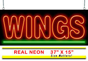 Extra Large Wings Neon Sign | Jantec | 37 X 15 | Buffalo Pizza Bar And Grill Pub