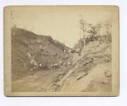 C-1870's-1890's Cabinet Photo 15 Gold Or Silver Miners And Ore Cars