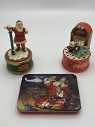 Vintage Coca Cola Collectibles Lot 2 Musical Figurines And Tin Of Playing Cards