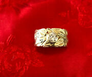 Antique Floral Design Cigar Band Ring In 14k With Diamond