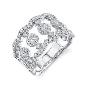 Unique Womens Diamond Ring 14k White Gold Cocktail Open Statement Wide Band 7