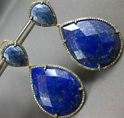 Extra Large 101.66ct Mocha Diamond And Sodalite 14kt Black And Yellow Gold Earrings