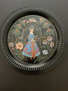Tin Tray Painted Russian Lady Round Filigree Platter Drink Tray Serving Decor