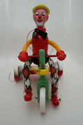 Vintage French Wooden Clown Riding A Bike Pull A Long Wood Toy 1940 Rare Toy Htf