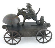Ca. 1890's Whoa Dar Ceaser Black Man And Donkey Cast Iron Ives Bell Toy