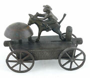 Ca. 1890and039s Whoa Dar Ceaser Black Man And Donkey Cast Iron Ives Bell Toy