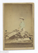 1860s-70s Cdv Photo, Handsome Boy With Toy Wheelbarrow Stands On Victorian Couch