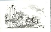 On The Barge Canal Pittsford Ny Pencil Work Vintage Card Ll1