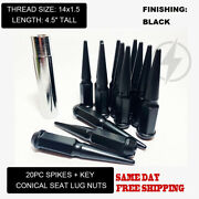Fit Pontiac G8 2008-2009 Conical Seatandnbspspike Lug Nuts 4.5and039and039 14x1.5 Black 20+key