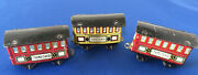 Three Antique Penny Toy Train Cars--2 3rd Class And One First Class Car