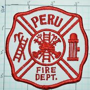 Indiana Peru Fire Dept Red And White Patch