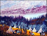 Earl Biss High Mountain Camp Serigraph On Paper Hand Signed Hand Colored