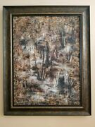 Original Abstract Oil Painting 23 1/2 In By 31 1/2 In. Wood Frame Is Included.