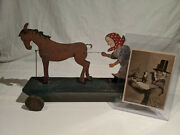 Ca.1919 Washer Woman And Horse Welsh Folk Art Toy 16 3/4 W/ Orig. Period Photo