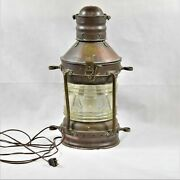 Antique Rare Great Grimsby Coal Salt And Tanning Co. Ships Anchor Lamp Preowned