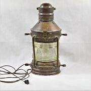 Antique Rare Great Grimsby Coal, Salt And Tanning Co. Ships Anchor Lamp Preowned