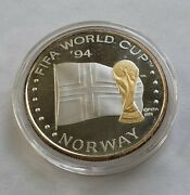 Fifa 1994 World Cup Soccer Norway Limited Edition 1 Oz .999 Silver Round
