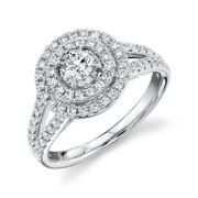 Diamond Pave Engagement Ring 14k White Gold Halo Solitaire Round Cut Natural 7