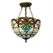 Pas Vintage Style Ceiling Light Chandelier Stained Glass Hotel Bedroom