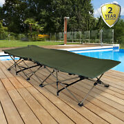 Green Folding Camping Bed Scissor Frame Portable Large Strong Heavy Duty Travel