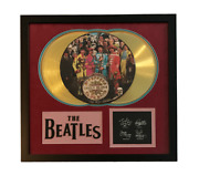 Beatles Sgt. Pepperand039s Lp Gold Record Photo Disk Collage Facsimile Signed