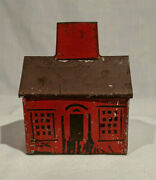 1870's-1880's American Red Painted Tin House Still Bank, Poss. Stevens And Brown