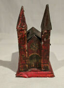 1890and039s-1914 Penny Toy Tin Gothic Church With Two Steeples German Still Bank