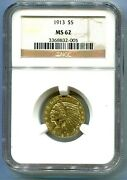 1913 5 Indian Half Eagle Gold Coin Ngc Ms62 Ms-62 Better Date