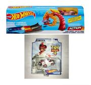 Mattel Hot Wheels Flame Jumper Action Play Set With Car And Duke Caboom Stunt Car