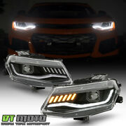 2016-2018 Chevy Camaro Halogen Black Led Sequential Signal Projector Headlights