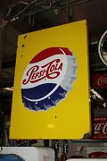 1960s Pepsi-cola Double Sided Porcelain Hanging Advertising Sign
