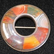 Antique 1859 Victorian Scottish Agate Brooch Sterling Silver,