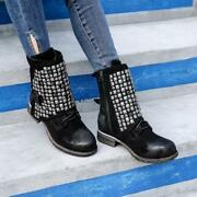 Womens Fashion Punk Rivet Round Toe Side Zipper Block Leather Ankle Boots Size