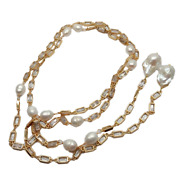Cultured White Keshi Pearl Rectanle Cz Pave Chain Necklace 50 Long Necklace
