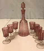 Venini Decanter With Stopper And 7 Cups